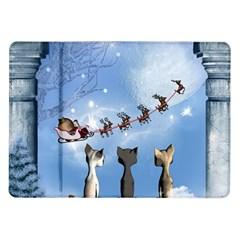 Christmas, Cute Cats Looking In The Sky To Santa Claus Samsung Galaxy Tab 10 1  P7500 Flip Case