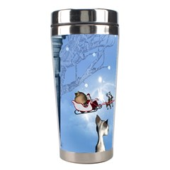Christmas, Cute Cats Looking In The Sky To Santa Claus Stainless Steel Travel Tumblers