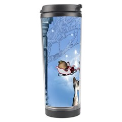 Christmas, Cute Cats Looking In The Sky To Santa Claus Travel Tumbler