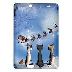 Christmas, Cute Cats Looking In The Sky To Santa Claus Amazon Kindle Fire Hd (2013) Hardshell Case