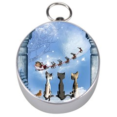 Christmas, Cute Cats Looking In The Sky To Santa Claus Silver Compasses
