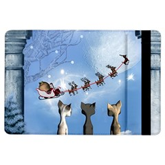 Christmas, Cute Cats Looking In The Sky To Santa Claus Ipad Air Flip