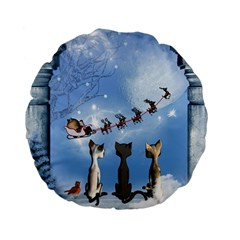 Christmas, Cute Cats Looking In The Sky To Santa Claus Standard 15  Premium Flano Round Cushions
