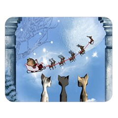 Christmas, Cute Cats Looking In The Sky To Santa Claus Double Sided Flano Blanket (large)