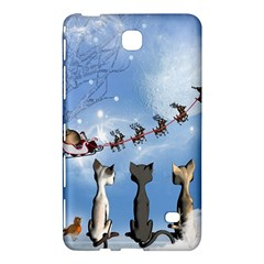 Christmas, Cute Cats Looking In The Sky To Santa Claus Samsung Galaxy Tab 4 (8 ) Hardshell Case