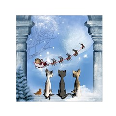 Christmas, Cute Cats Looking In The Sky To Santa Claus Small Satin Scarf (square)