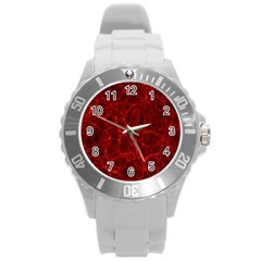Simulation Red Water Waves Light Round Plastic Sport Watch (l)
