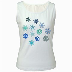 Snowflakes Blue Green Star Women s White Tank Top