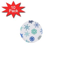 Snowflakes Blue Green Star 1  Mini Buttons (10 Pack)