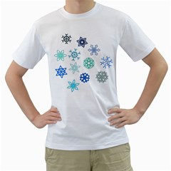 Snowflakes Blue Green Star Men s T Shirt (white) (two Sided)