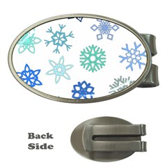 Snowflakes Blue Green Star Money Clips (oval)