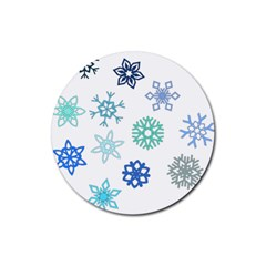 Snowflakes Blue Green Star Rubber Coaster (round)