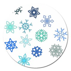 Snowflakes Blue Green Star Magnet 5  (round)
