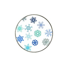 Snowflakes Blue Green Star Hat Clip Ball Marker