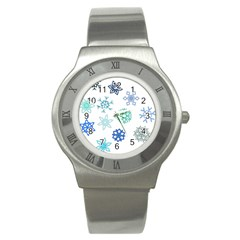 Snowflakes Blue Green Star Stainless Steel Watch