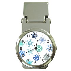 Snowflakes Blue Green Star Money Clip Watches