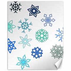 Snowflakes Blue Green Star Canvas 11  X 14
