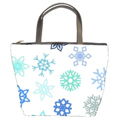Snowflakes Blue Green Star Bucket Bags