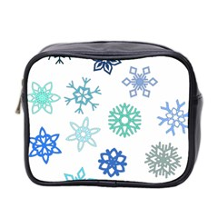 Snowflakes Blue Green Star Mini Toiletries Bag 2 Side