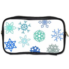 Snowflakes Blue Green Star Toiletries Bags