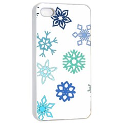 Snowflakes Blue Green Star Apple Iphone 4/4s Seamless Case (white)