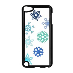 Snowflakes Blue Green Star Apple Ipod Touch 5 Case (black)