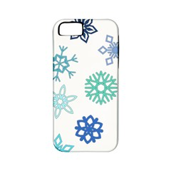 Snowflakes Blue Green Star Apple Iphone 5 Classic Hardshell Case (pc+silicone)