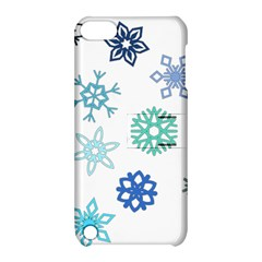 Snowflakes Blue Green Star Apple Ipod Touch 5 Hardshell Case With Stand