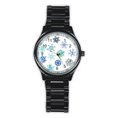 Snowflakes Blue Green Star Stainless Steel Round Watch