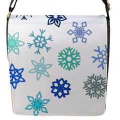 Snowflakes Blue Green Star Flap Messenger Bag (s)