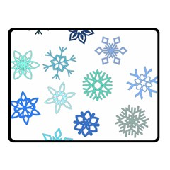 Snowflakes Blue Green Star Double Sided Fleece Blanket (small)