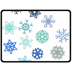 Snowflakes Blue Green Star Double Sided Fleece Blanket (large)