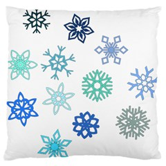 Snowflakes Blue Green Star Large Flano Cushion Case (two Sides)