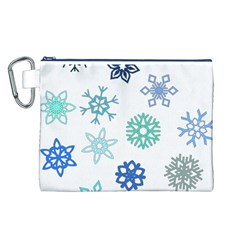 Snowflakes Blue Green Star Canvas Cosmetic Bag (l)