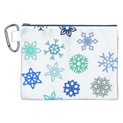 Snowflakes Blue Green Star Canvas Cosmetic Bag (xxl)