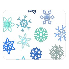 Snowflakes Blue Green Star Double Sided Flano Blanket (large)