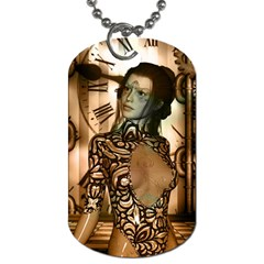 Steampunk, Steampunk Women With Clocks And Gears Dog Tag (one Side)