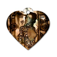 Steampunk, Steampunk Women With Clocks And Gears Dog Tag Heart (two Sides)