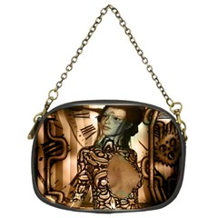 Steampunk, Steampunk Women With Clocks And Gears Chain Purses (two Sides)