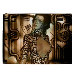 Steampunk, Steampunk Women With Clocks And Gears Cosmetic Bag (xxl)