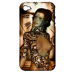 Steampunk, Steampunk Women With Clocks And Gears Apple Iphone 4/4s Hardshell Case (pc+silicone)