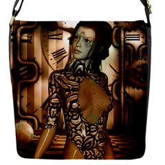 Steampunk, Steampunk Women With Clocks And Gears Flap Messenger Bag (s)