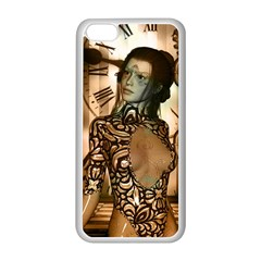 Steampunk, Steampunk Women With Clocks And Gears Apple Iphone 5c Seamless Case (white)