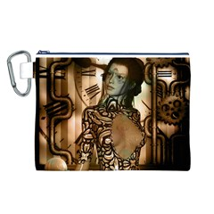Steampunk, Steampunk Women With Clocks And Gears Canvas Cosmetic Bag (l)