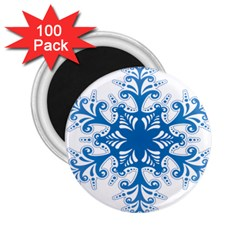 Snowflakes Blue Flower 2 25  Magnets (100 Pack)