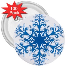 Snowflakes Blue Flower 3  Buttons (100 Pack)