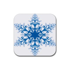 Snowflakes Blue Flower Rubber Square Coaster (4 Pack)