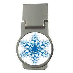 Snowflakes Blue Flower Money Clips (round)