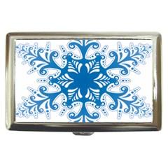 Snowflakes Blue Flower Cigarette Money Cases