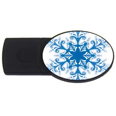 Snowflakes Blue Flower Usb Flash Drive Oval (2 Gb)